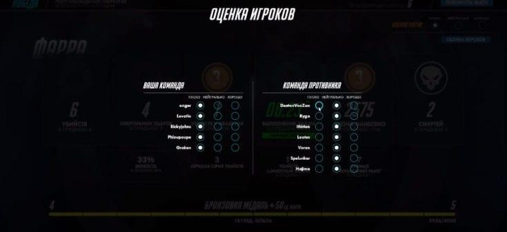 отценка игроков  overwatch после мтча